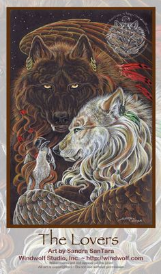 Winged Wolf lovers painting by Sandra SanTara
