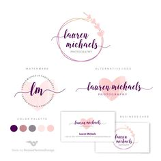 Premade Branding Kit - Photography Logo Set- Watermark - Handwritten initials - Gold Initials Signature - Watercolor Logo -Heart Lovely logo by BVLogoDesign Photography Business Cards, Photography Logos, Food Photography, Web Design, Logo Design, Branding Design, Makeup Artist Business Cards, Wedding Logos, Wedding Venues