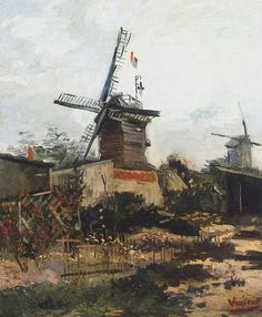 Le Moulin de Blute-Fin, 1886 by Vincent Van Gogh #chepakko #van #gogh #art #painters #canvas  #paintings