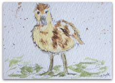 Duckling painting Original Miniature Watercolour by StudioHydeArt #original #watercolour #painting #farmyard #cute #duckling View: https://www.etsy.com/uk/listing/480717342/duckling-painting-original-miniature?ref=shop_home_active_1