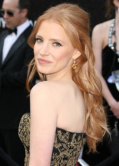 We have a total hair crush on Jessica Chastain's simple yet elegant Oscar hair. #Hairstyles