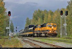 High quality photograph of Alaska Railroad EMD # ARR 4323 at Matanuska, Alaska, USA. Alaska Railroad, Alaska Travel, Paint Schemes, Locomotive, Bridges, Transportation, Mountain, Steel, Cars