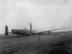 23 April 1944: Slow motion nightmare in a Lancaster over Dusseldorf Avro Lancaster B Mark I, ME590 'SR-C', of No. 101 Squadron RAF, lies on the FIDO (Fog Investigation and Dispersal Operation) pipework at Ludford Magna, Lincolnshire, after a successful crash-landing on returning from a raid to Augsburg on the night of 25/26 February 1944. The aircraft was damaged by anti-aircraft fire, which disabled the hydraulic system and holed the starboard fuel tank, and was also attacked by a…