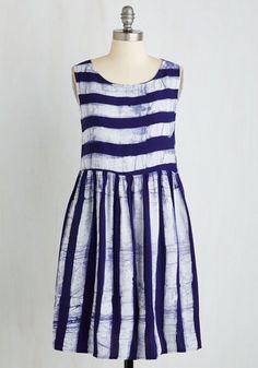 Art Show Stopper Dress in Stripes - Purple, White, Stripes, Shift, Sleeveless, Woven, Better, Mid-length