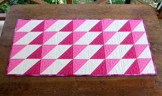 Quilted Table Runner  Pink Cream Table Runner by RedNeedleQuilts, $49.00
