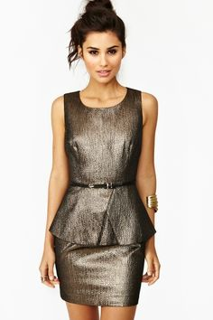 Bronzed Peplum Dress