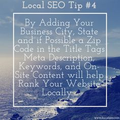 Local SEO Tips from ilocal seo - Increase your odds of getting found online locally by adding your City, St, and if possible zip code to your Meta Data (Title Tags, Meta Description / Keywords) - SEO Pricing 561-281-6777