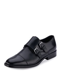 Dylan+Double-Monk+Leather+Oxford,+Nero+by+Saint+Laurent+at+Neiman+Marcus.