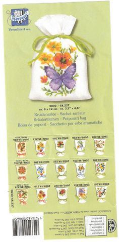 Sachet Bags, Sachets, Stitch 2, Cross Stitch, Potpourri, Embroidery, Canvas, Flower, Cross Stitch Embroidery