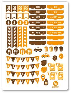 October Monthly Matching ECLP Set Planner Stickers