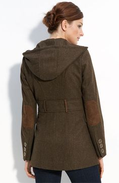 brown wool coat with elbow patches!