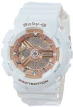 Casio Women's BA-110-7A1CR Baby-G Pink Analog-Digital Display and White Resin Strap Watch