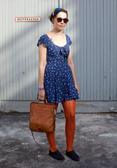 """""""My boyfriend chose my outfit today. The dress is from Zara, the rest is second hand. I like colours, orange especially. And dresses and feathers. Facehunter inspires me. Street Style Blog, Looks Street Style, Spring Street Style, Orange Tights, Mod Girl, Red Wedding, Blue Dresses, Dress Up, Short Sleeve Dresses"""