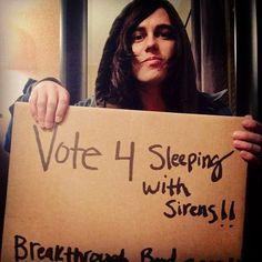 Kellin Quinn wants you to vote so VOTE man!!!(;<   LINK:  http://buzzworthy.mtv.com/2013/12/10/fan-favorite-breakthrough-band-voting/