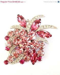 Gorgeous Eisenberg Pink Rhinestone Brooch by Vintageimagine, $118.40