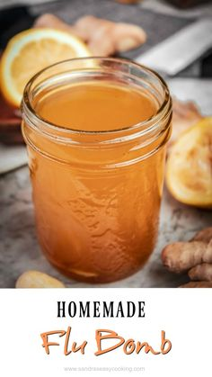 Homemade Flu Bomb Recipe - Sandra's Easy Cooking Home RemedyYou can find Health remedies and more on our website.Homemade Flu Bomb Recipe - Sandra's Easy Cooking Home Remedy Home Remedies For Flu, Home Health Remedies, Natural Health Remedies, Herbal Remedies, Natural Remedies For Cough, Sore Throat Remedies For Adults, Best Cold Remedies, Homemade Cough Remedies, Homemade Cough Syrup