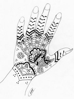 henna design drawing full hand - Google Search