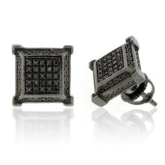DSE4194 : 0.20ctw 10mm DIAMOND MICRO PAVE ON 925 STERLING SILVER ALL BLACK EARRINGS