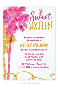 A trendy watercolor pink and faux gold glitter tropical sweet 16 birthday invitation. Modern palm trees paired with a pineapple and swirl. A fun design for a luau themed sweet 16 party.