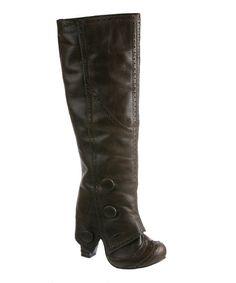 afec573d2fdc Irregular Choice Brown Hi Spit Spot Leather Boot