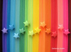 Items similar to 500 Origami Stars Paper Strips, Rainbow Multicolor Lucky Stars on Etsy Origami Lucky Star, Origami Star Paper, Origami Hearts, Origami Boxes, Origami Ball, Origami Ideas, Origami Flowers, Origami Folding, Taste The Rainbow