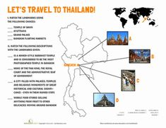Fifth Grade Geography Worksheets: Thailand Landmarks