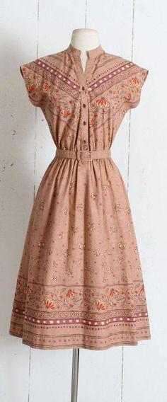 Vintage 1970s Dress vintage 70s western inspired printed