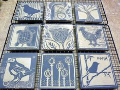 This made me wonder if lino cuts could be pressed into clay tiles? Clay Tiles, Ceramic Clay, Ceramic Pottery, Pottery Houses, Sculptures Céramiques, Tile Projects, Pottery Techniques, Collaborative Art, Pottery Designs