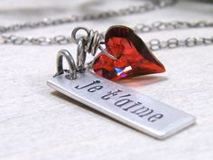 je t'aime necklace hand stamped sterling silver by PureRoxInPrint, $52.00