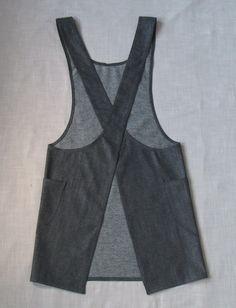 Japanese style cross-back denim smock apron by Larklin on Etsy