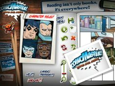 Comic Master. It allows students to create their own graphic novels! Choose page backgrounds, characters and props. Add dialogue and captions.