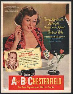 1950 Chesterfield Cigarettes Barbara Hale Smoke My Cigarette Vintage Ad | eBay