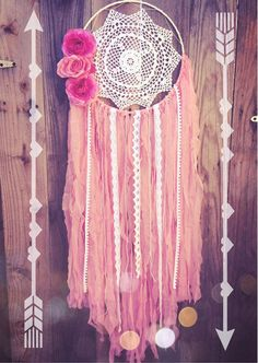 Pink & White Lace Floral Crochet Doily Boho Shabby Chic Gypsy Dreamcatcher // Baby Nursery Decor // Wedding Decor // Home from Unicorns4Evaa. Saved to ☽. #pink #flower #coachellastyle #coachella #floral #hippiestyle #gypsystyle #bohostyle.
