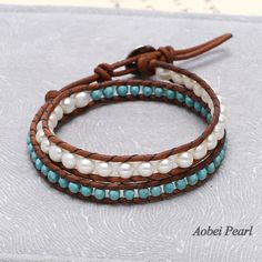 Aobei Pearl - Handmade Bracelet with Freshwater Pearl, Leather Cord and Turquoise Beads, Wrap Bracelet, Pearl Bracelet, ETS-B168 #handmadebracelet #leatherbracelet #turquoisebracelet #pearlbracelet #wrapbracelet #dailybracelet #partybracelet