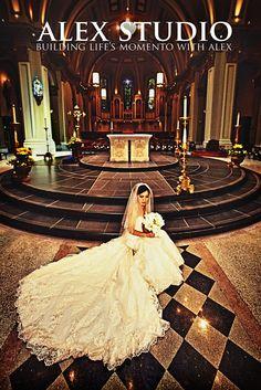 ALEX STUDIO PHOTOGRAPHY AND CINEMATOGRAPHY Maternity, Newborn, Head shot, Fashion portfolio Destination Wedding- Worldwide Travel Please contact us at 425.883.6800  Wedding, Bride Self Portrait in a Catholic Church