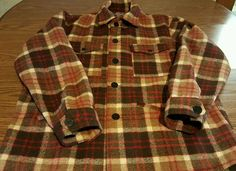 Vtg 60s 70s PENDLETON Men's Thick Wool Hunting Mackinaw Coat Jacket USA Sz L #PENDLETON #BasicJacket