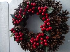 Pine Cone Wreath  Christmas Decorations  Candle Ring  Holiday Wreath  Pine Cone Wreath With Red Berries  Christmas Gift  Holiday Centerpiece Berry Wreath, Twig Wreath, Floral Wreath, Acorn Wreath, Boxwood Wreath, Door Wreaths, Holiday Centerpieces, Christmas Candle Decorations, Christmas Gifts