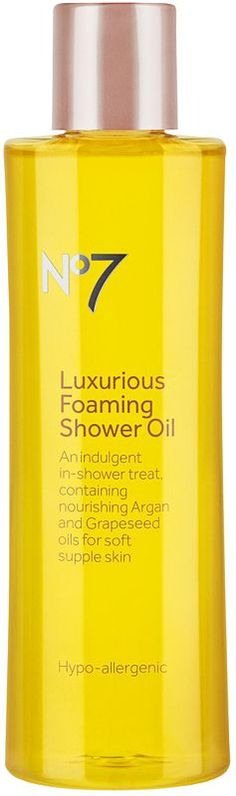 Give yourself an indulgent start to the day with No7 Luxurious Foaming Shower Oil by Boots..