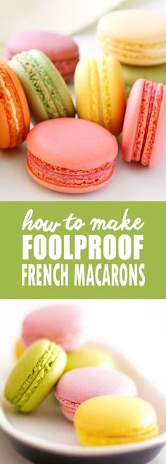 Watch this video for tips and tricks for making foolproof French Macarons. French Macarons are light, airy and delicate meringue sandwich cookies baked in an infinite array of flavors and fillings. French Macaroon Recipes, French Macaroons, French Dessert Recipes, French Recipes, French Snacks, French Food, Macaroon Cookies, Shortbread Cookies, Macaron Cake