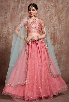 Picture of Peach Color Party Wear Net Flared Lehenga Choli Lehenga Style, Pink Lehenga, Net Lehenga, Saree, Indian Dresses, Indian Outfits, Lehenga Choli Online, Lehga Choli, Indian Bridal Lehenga