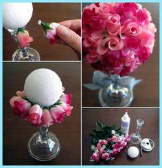 nasıl yapılır, yapay çiçek buketi nasıl yapılır, köpük top ....