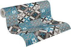 AS Creation Moroccan Tile Effect Wallpaper Teal Blue Black Grey Mosaic Vinyl - Default Title
