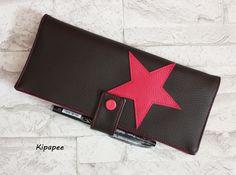 RESERVE : porte chéquier en longueur marron et rose - porte-cartes - porte papiers - emplacement stylo