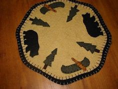 Primitive Candle Mat -Woolfelt Penny Rug-Lodge/Bear 9""