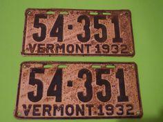 VINTAGE 1932 VERMONT LICENSE PLATE PAIR 54-351