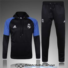 Nouveau Sweat Capuche Survetement Real Madrid Noir/Blue 2016/2017