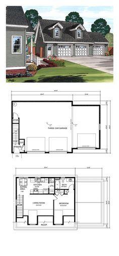 Garage Plan 30031 - Cape Cod, Country Style 3 Car Garage ApartmentPlan with 687 Sq Ft, 1 Bed, 1 Bath Garage Apartment Plans, Garage Apartments, Above Garage Apartment, Garage Office, Poster Harry Potter, Plan Garage, Garage Loft Plans, Garage To Living Space, Design Garage