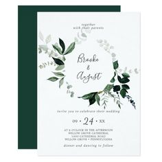 Emerald Greenery Wreath Wedding Invite with dark green moody watercolor leaves and eucalyptus with a modern woodland boho feel. Click to customize with your personalized details today. Backyard Wedding Invitations, Beautiful Wedding Invitations, Wedding Invitation Sets, Custom Invitations, Invitation Design, Invite, Watercolor Leaves, Floral Watercolor, Rustic Save The Dates