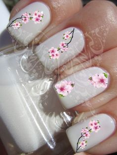 Cherry Blossoms Nail Art Japanese Tree Sakura Nail Water Decals Slides 20 water decals on a clear water transfer which can be applied over any color varnish on either your natural or false nail. Cat Nail Art, Cat Nails, Acrylic Nail Art, Coffin Nails, Spring Nails, Winter Nails, Cherry Blossom Nails, Cherry Blossoms, Nail Water Decals