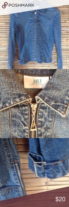 O Jean Jacket Sz M Nice Jean Jacket with zipper detail at sleeve and buckle and snap to tighten detail at waist. JLo Jackets & Coats Jean Jackets